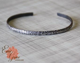 Sterling Silver Floral Cuff Bracelet, Silver Flower Pattern Oxidized Bangle