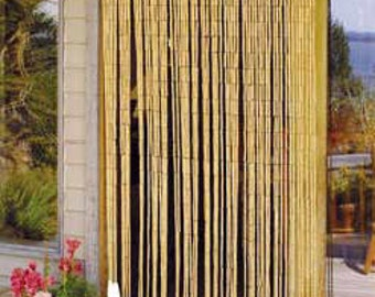 """Bamboo Beaded Curtain, 90 strands, natural finished. 36""""W x 79""""H"""