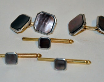 Genuine Vintage Late 1950s Tuxedo Shirt Formal Cufflinks and Studs Set -- Free Shipping!