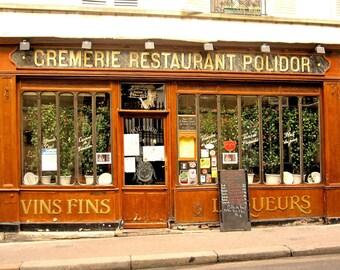 Paris Photograph, French Cafe, Paris Photography Print, Cafe Photo, Brown, Wall Decor, Kitchen Art, Wall Art, Travel Picture, 11 x 14 Print