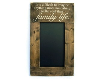 Rustic Wood Framed Chalkboard Wall Decor Sign Message Center Memo Board - Family Life (#1020-CB)