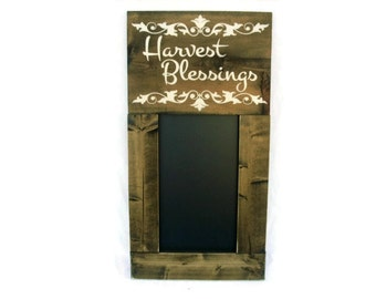 Framed Fall Thanksgiving Chalkboard Large Rustic Wood Wall Decor - Harvest Blessings (#1214-CB)