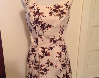 RESERVED: Asian print cotton 1950's dress, size large