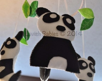 Felt Panda Baby Mobile: Customizable colors to match your nursery!