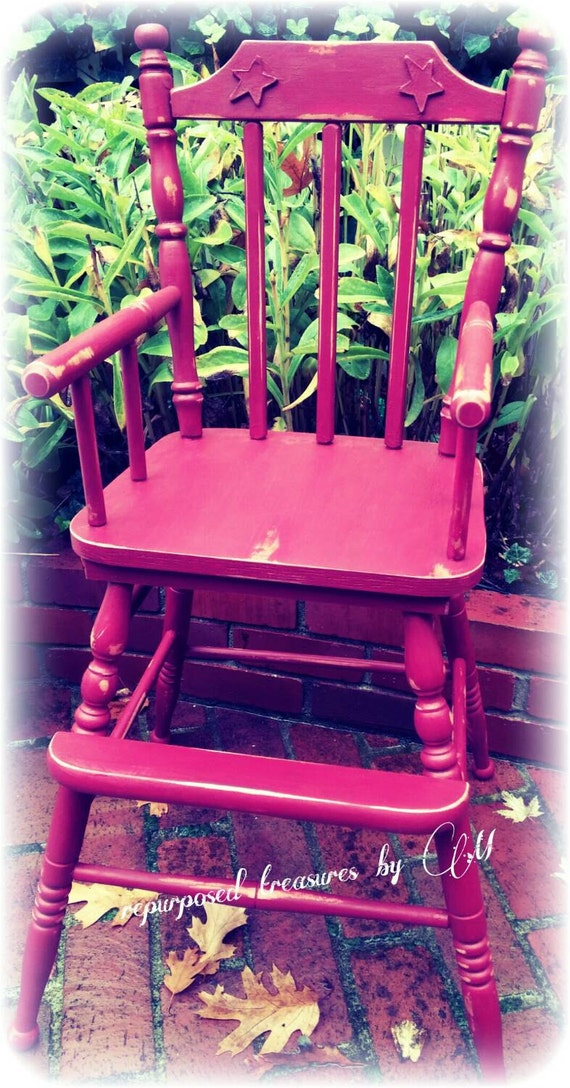 rustic distressed red high chair painted furniture cottage red