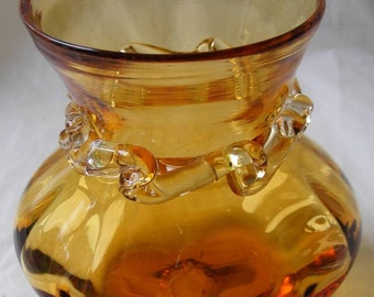 Vintage Topaz Glass Hand Blown Melon Vase w Pontil Applied Clear Glass Neck Ribbon Nice Amber Color Possible Kanawha WV ~ 1340g