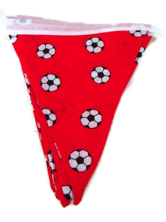 red football bunting, footy mad flags, hanging decoration, wall decor, soccer flags 6.5ft