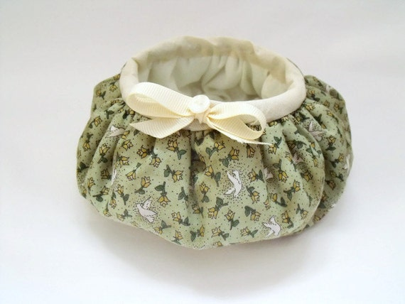 round fabric storage bowl, gathered basket for nic naks,  bits and bobs storage dressing table tidy green dove fabric with decorative bow