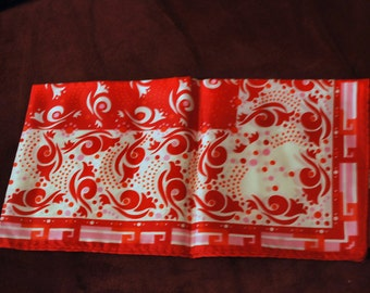 Vintage Scarf 1970s Red Pink White Swirl Line Pattern 100% Acetate Twill From Japan