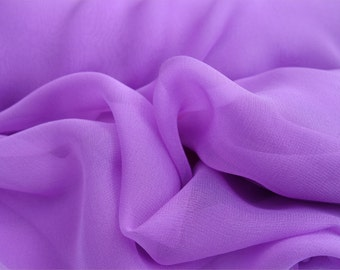 "Pure Silk Chiffon LILAC, LAVENDER fabric 138 cm (54"") wide availale by the metre medium weight"