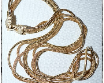 Vintage Gold Tone Multi Strand Mesh Chain Necklace