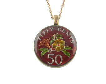 Singapore 50c Coin Pendant Enamelled with Floral Motif.