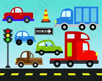 Cars Digital Clipart - Sedan, Truck, Pickup, Stoplight, Traffic Cone