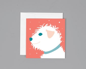 "White Terrier Dog Illustration Small Greeting Card (3"" x 3"") Cute Enclosure Card"