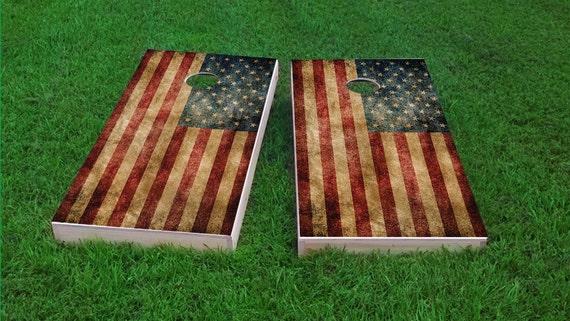 Worn American Flag Themed 2x4 Custom Cornhole Board Set With