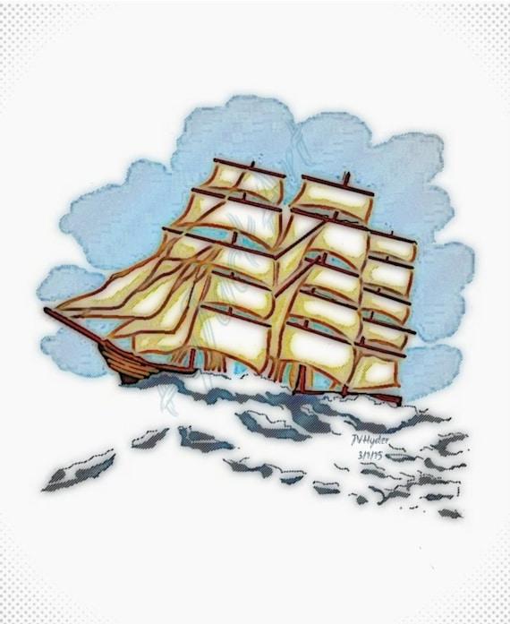 Nautical Art Ship Art Digital Painting Tall Ship By HyJackArt