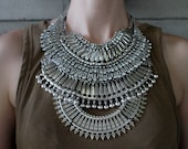 Handcrafted Statement Necklace: BROOKLYN. Silver crystal layered stacked rhinestone ethnic bohemian necklace