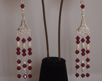 Evening Chandelier Sterling Silver Earrings with Red Swarovski Crystals