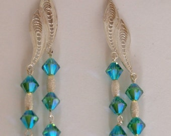 Evening Chandelier Sterling Silver Earrings with Swarovski Crystals