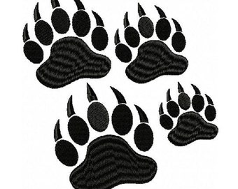 Bear Paw Prints Embroidery Design in 4 Sizes - Instant Download