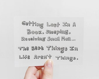 Best things in life postcard, Quote card