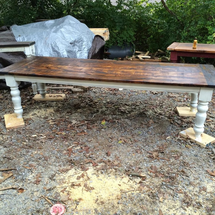 10 foot rustic farmhouse table in heart by wellsworksfurniture for 10 foot farm table