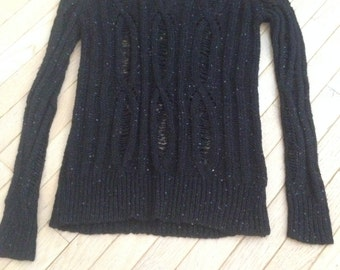 Black Sweater,, sequin embroidery  / Large