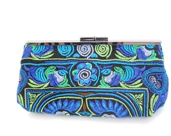 Blue Embroidered Clutch Purse Evening bag Boho Clurch Blue Clutch Evening Purse