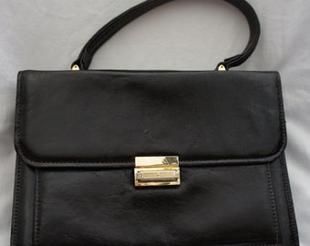 French Vintage Black leather handbag. 1950's French Vintage Chic.