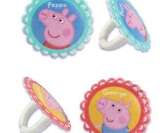 12 Peppa Pig Cupcake Ring Toppers - PEPR