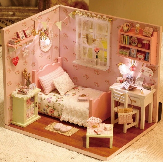 miniature de bricolage chambre miniature maison handcraft kit. Black Bedroom Furniture Sets. Home Design Ideas