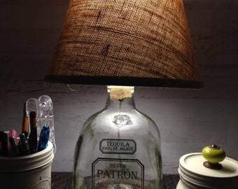 Patron 1.75 Liter large Table Lamp With Burlap Shade