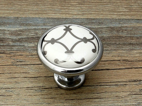 Commode boutons tiroir bouton tire poign es blanc argent - Bouton de porte cuisine ...