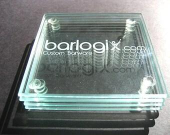 Glass Coaster Set of 4 - Logo Glass Coaster Set - Custom CLEAR Glass Coaster Set - Personalized Glass Coaster Set