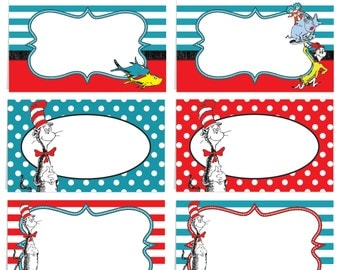 Dr seuss labels etsy for Dr seuss birthday card template