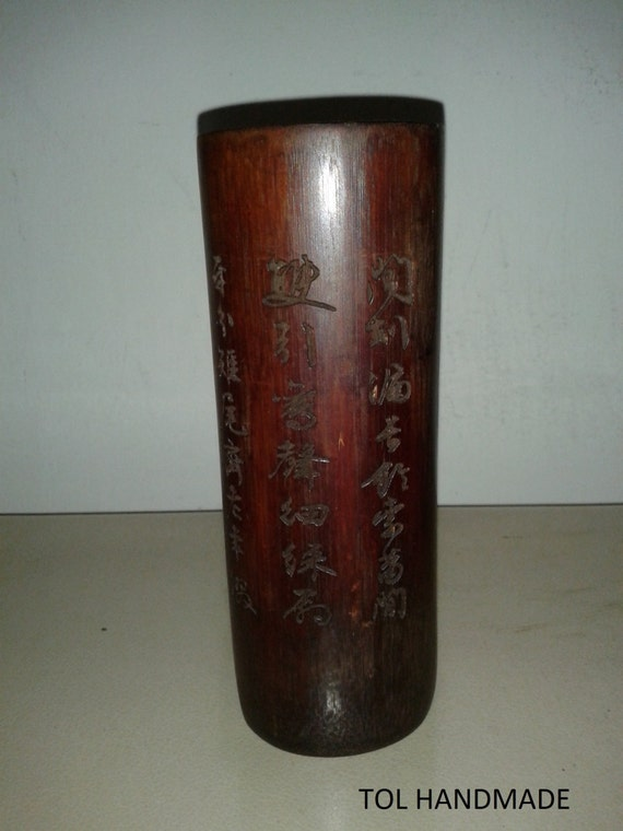 Vintage calligraphy brush holder asian art decor bamboo