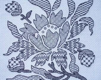 KL129 Blackwork Stencil Flower Needlework Kit