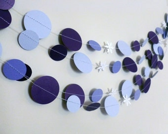 Purple Snowflake Paper Garland | Purple Birthday or Wedding Decor