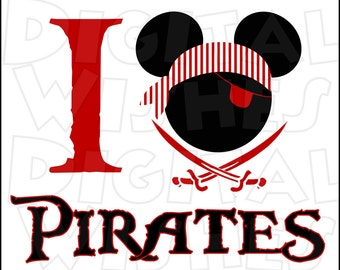 I love heart Pirates Mickey Mouse head ears Digital Iron on transfer clip art INSTANT DOWNLOAD Image DIY for Shirt