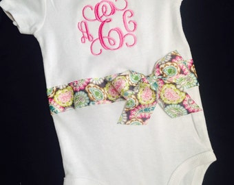 Monogrammed onesie; Newborn Layette