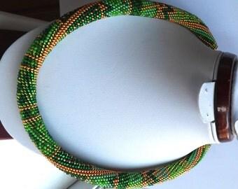 Collier tourniquet  green patchwork