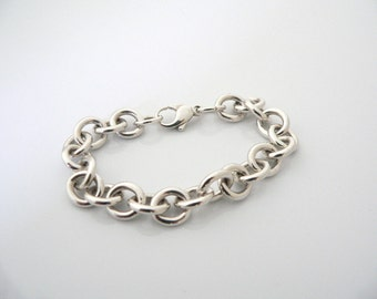 Tiffany & Co Silver Classic Charm Link Bracelet Bangle Chain 7.5 Inches