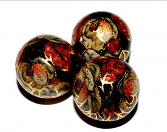 1 pc/16 mm Stunning Japanese TENSHA bead (Black with golden flowers)