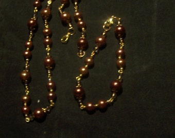 Here Pretty Brown/Gold Bead Necklace With Matching Bracelet