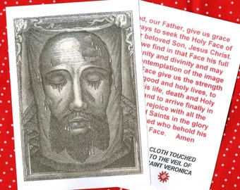 HOLY FACE of JESUS copy of original Holy Face Engraving with English prayer and relic touched to original Veil in Rome**Free uk/Irish post**