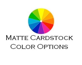 Matte CardStock Color Option Samples