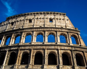 Travel Photography Europe Wall Art Print - Colosseum Blue, Rome - Italy