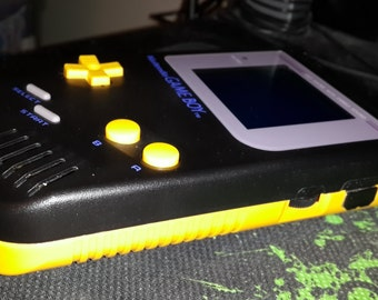 Customized/Modded Black/Yellow Game Boy DMG-001 with Biverted Yellow Back-Light