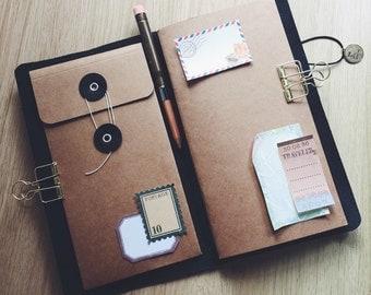 Kraft envelop pocket for Pelle Leather Journal,  Pelledori accessories