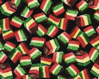 Food - Rainbow Cookies on Black Fabric
